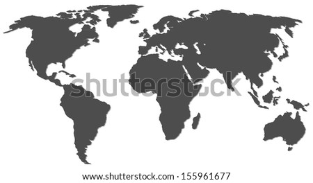 world map with shadow - stock vector