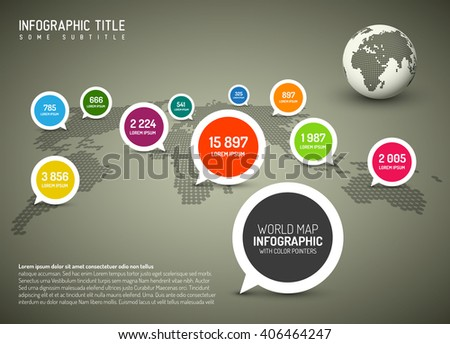 World map with simple pointer marks (speech bubbles) - minimalist infographics concept, brown version - stock vector