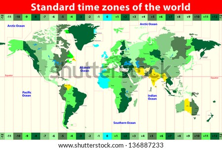 World Map with Standard Time Zones. Vector - stock vector