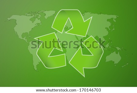 world map with symbol of recycling on green background - stock vector