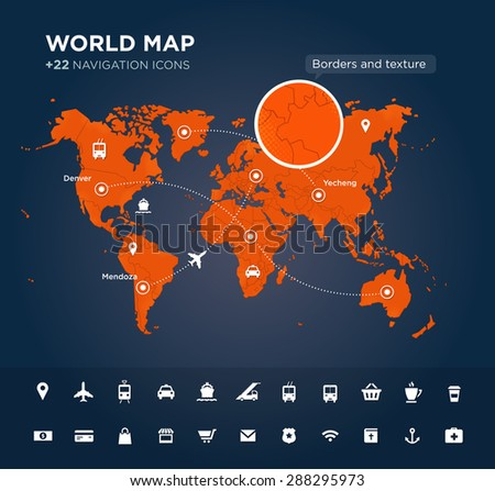 World map with tags, points and destinations, continents, designation, global, navigation icons. Vector textured background - stock vector