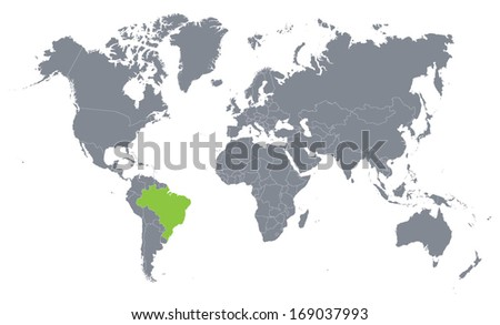 world map with the indication of Brazil - stock vector
