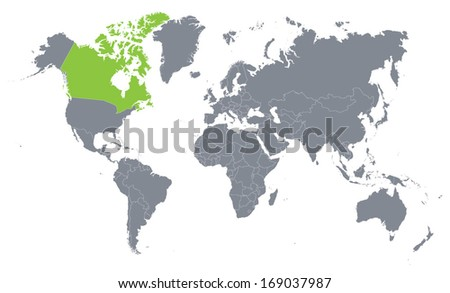 world map with the indication of Canada - stock vector