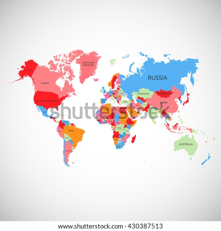 World map with the names of the countries. Vector illustration.  - stock vector