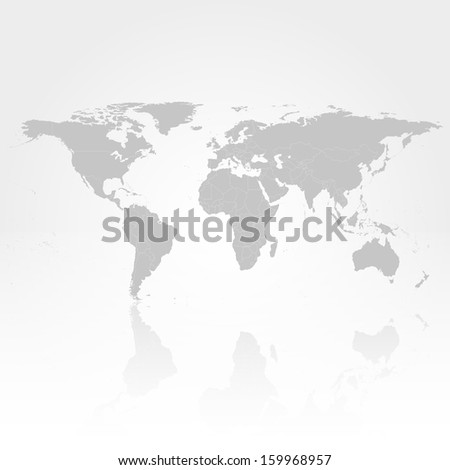 world map with the shadow on gray background vector - stock vector