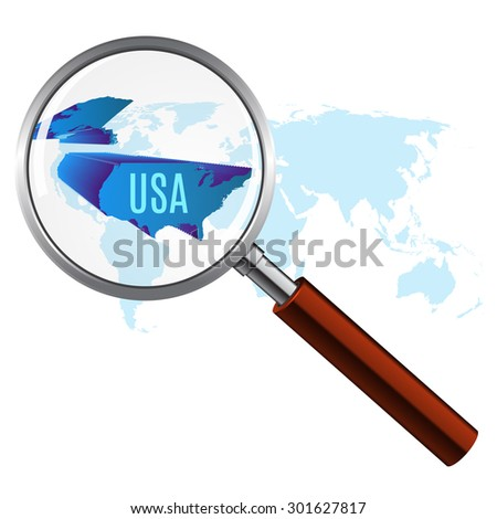 World map with usa magnified by loupe. vector illustration. - stock vector