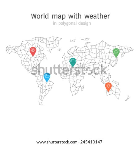 World map with weather in polygonal design. elements of info graphics - stock vector