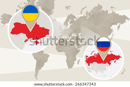 World map zoom on Ukraine, Russia. Conflict. Vector Illustration. - stock vector