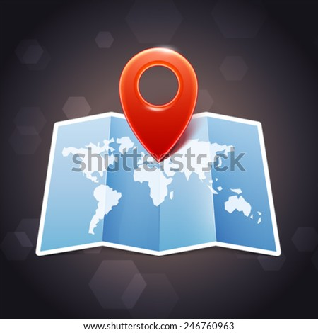 World Mar with marker, vector icon - stock vector