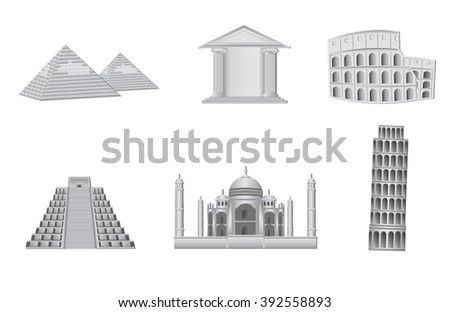 world monuments vector illustration - stock vector