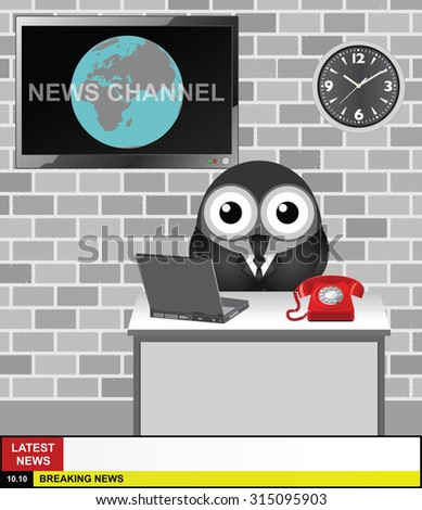World News Channel presenter with copy space for your own text on latest news and breaking news stories - stock vector