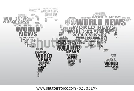 World news concept. Abstract world map made from World news words. Vector. - stock vector