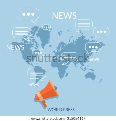 World news concept global online telecommunications tv radio live streaming - stock vector
