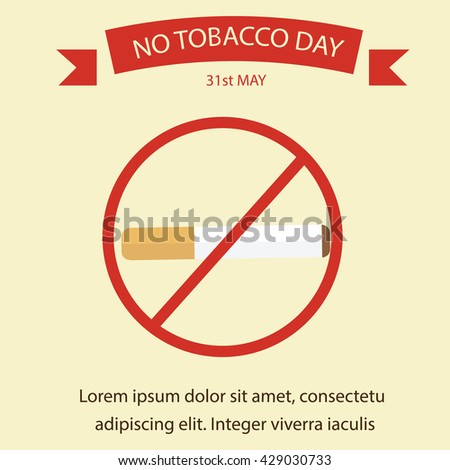 World No Tobacco Day. No Smoking campaign poster template. - stock vector