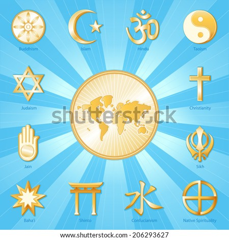 World of Faith, gold religions icons: Buddhism, Islam, Hindu, Taoism, Christianity, Sikh, Native Spirituality, Confucian, Shinto, Bahai, Jain, Judaism.  Aqua, gold ray background. EPS8 compatible. - stock vector