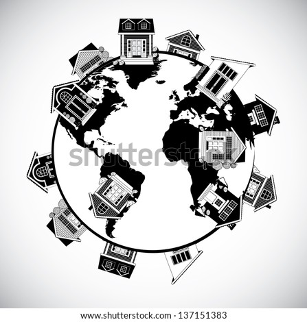 World of homes. Portions of this image supplied by NASA. EPS 10 vector, grouped for easy editing. No open shapes or paths. - stock vector