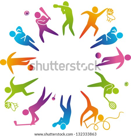 World of sports. Vector illustration of sports icons: basketball; soccer; tennis; boxing; wrestling; golf; baseball; gymnastics; - stock vector