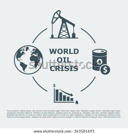 world oil crisis infographic. drop in oil prices. oil down concept. vector illustration - stock vector