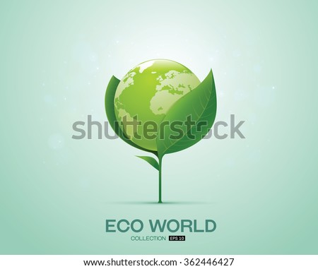 world on leaf eco world green world - stock vector