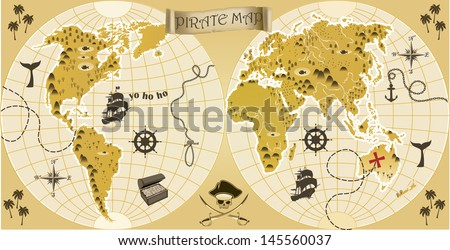 World pirate map - stock vector