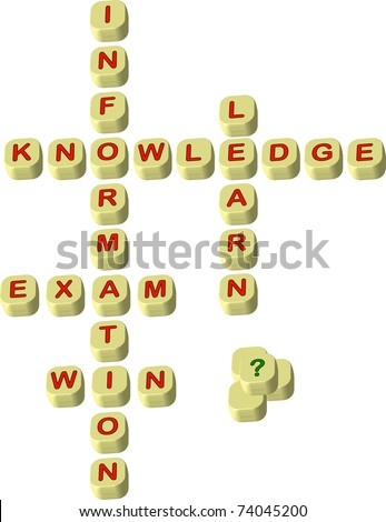 World play scrabbling letters spelling educational words , knowledge, information, learn, win and exam illustration - stock vector