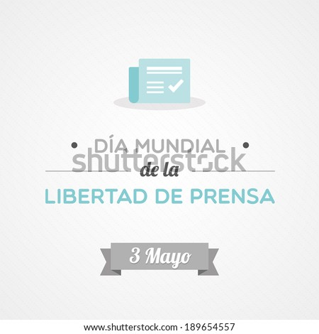 World Press Freedom Day in Spanish - stock vector