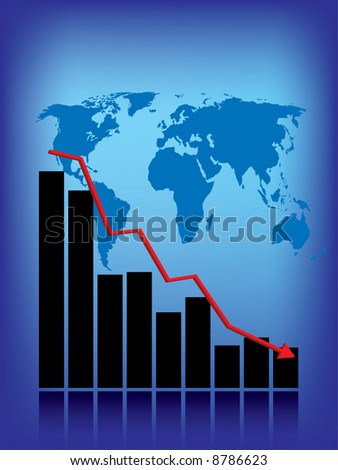 World recession business graph - stock vector