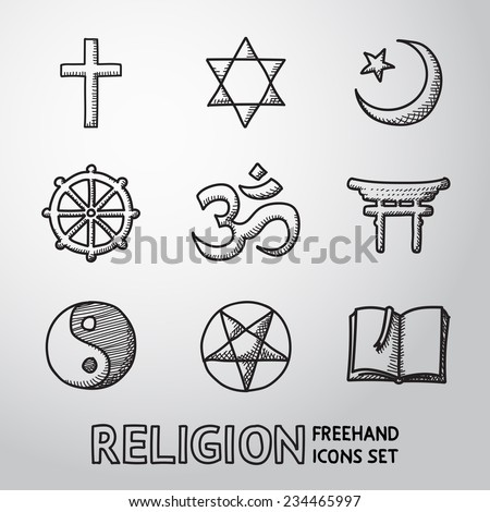 World religion hand drawn symbols set with - christian, Jewish, Islam, Buddhism, Hinduism, Taoism, Shinto, pentagram, and book as symbol of doctrine. - stock vector