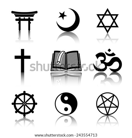 World religion monochrome symbols set with reflections - christian, Jewish, Islam, Buddhism, Hinduism, Taoism, Shinto, pentagram, and book as symbol of doctrine. - stock vector