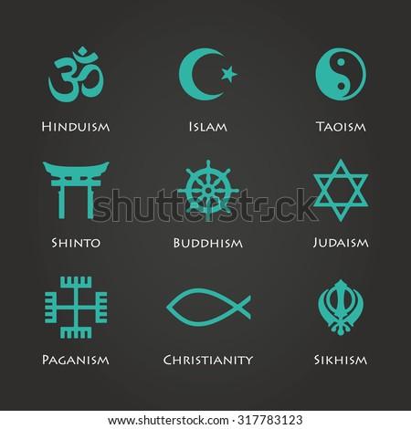 World religion symbols cyan color set with christian, Jewish, Islam etc vector illustration - stock vector