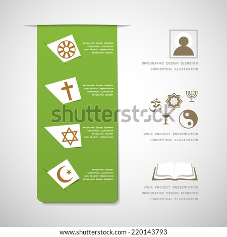 World religions infographic design elements - stock vector