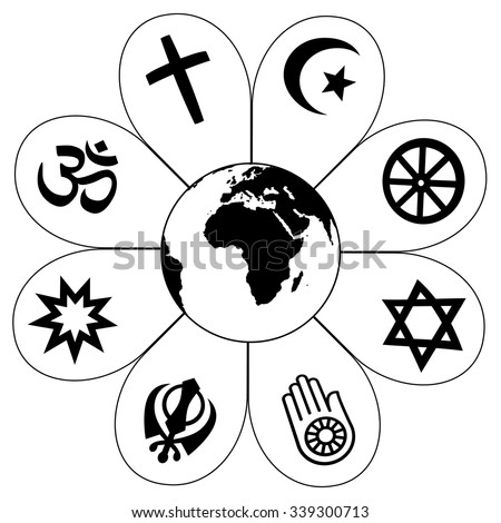 World Religions Planet Earth Flower World religions - flower icon made of religious symbols and planet earth in center. Isolated vector illustration on white background. - stock vector