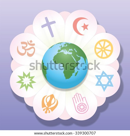 World religions united as petals of a flower - a symbol for religious solidarity and coherence - Christianity, Islam, Buddhism, Judaism, Jainism, Sikhism, Bahai, Hinduism. Vector illustration. - stock vector