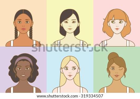 World's Nation Beautiful Women Portraits - stock vector