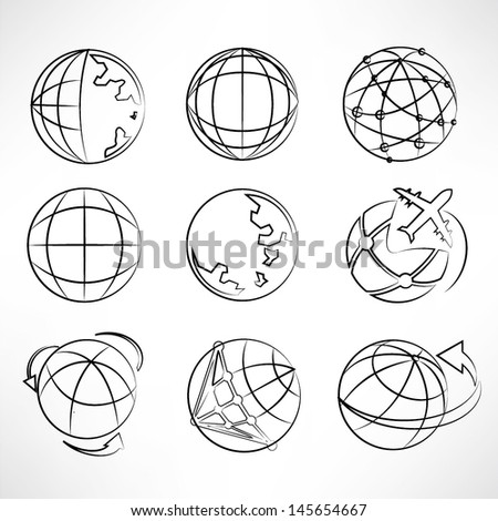 world set, globe icons set, sketch, pencil drawing line - stock vector