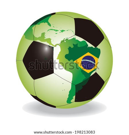 World soccer ball with Brazilian flag vector - stock vector