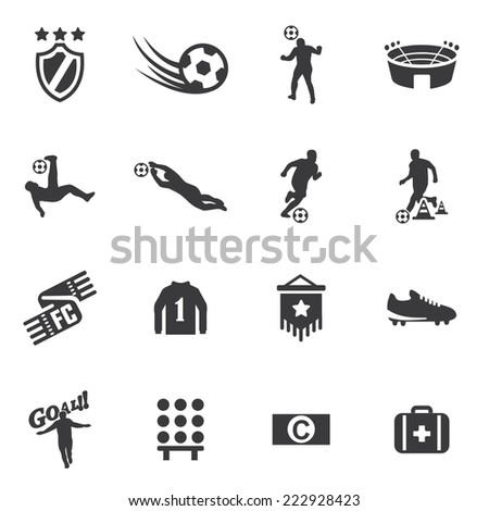 World Soccer Silhouette icons 2 - stock vector