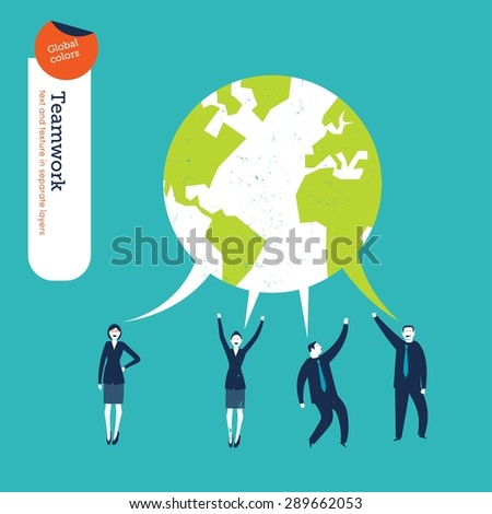World speech bubble made from the dialog of businesspeople. Vector illustration Eps10 file. Global colors. Text and Texture in separate layers. - stock vector