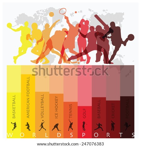 World Sport Isolate Action Icon Set Design Template - stock vector