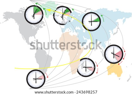 world time change  - stock vector