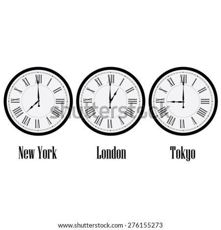 World time clocks New York, London and Tokyo. Clock on wall with roman numerals vector isolated - stock vector