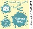 World tour logo icons set, around the world logos design - stock vector