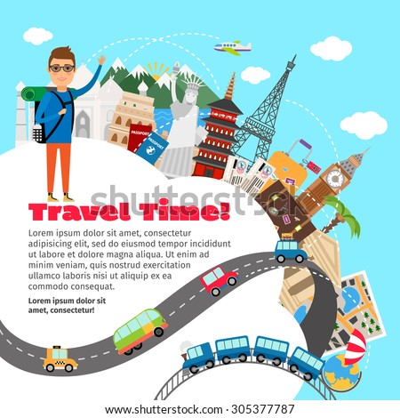 World travel and summer vacation planning. Tripand tourism, holiday and journey, concept, vector illustration - stock vector