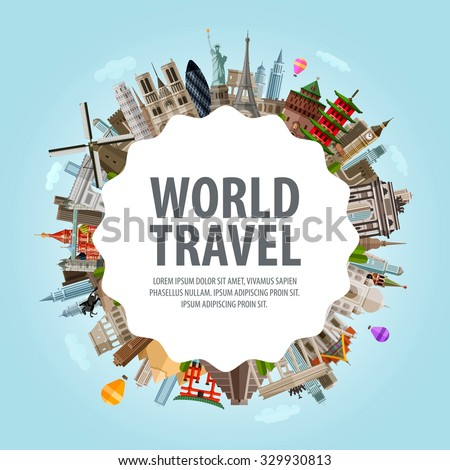 World travel. Collection of famous architecture of the world - stock vector