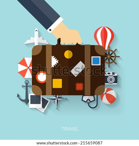 World travel concept background.  Flat icons. Tourism concept image.Holidays and vacation.Sea, ocean, land, air travelling. - stock vector