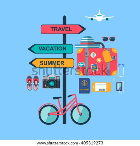 World travel concept background. Set of color flat icons - stock vector