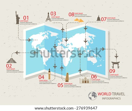 world travel info graphics elements. items are included world famous landmark, can be used for workflow layout, diagram, step up options, web design. Vector illustration. - stock vector