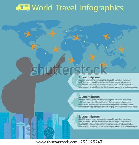 World travel infographics - stock vector