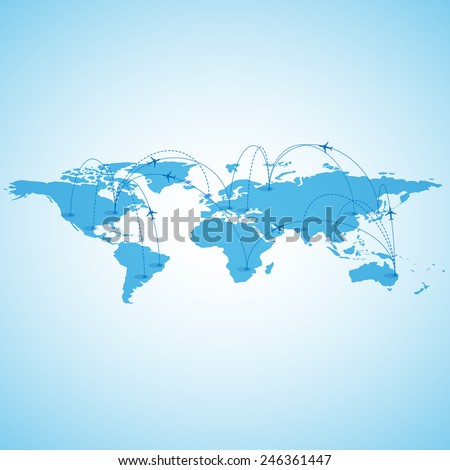 World travel map - stock vector