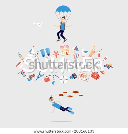 World Travel. Planning summer vacations. Summer holiday. Diving. Man under water waving. Tourism and vacation theme. Flat design vector illustration. - stock vector